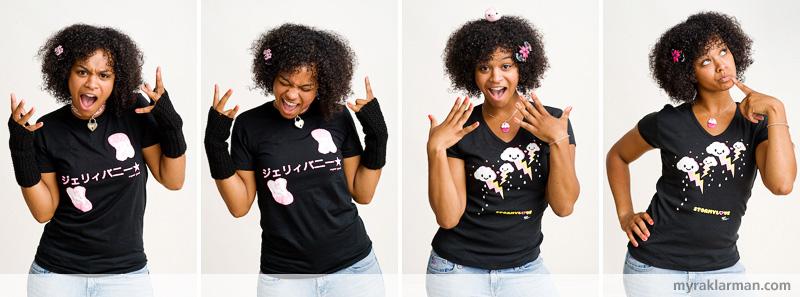 Shana Logic LovesSadie | Attitude by Sadie. Styling by Shana. Crochet Weeble Pig atop Sadie's head (in frame 3) by Alexis Barreda.