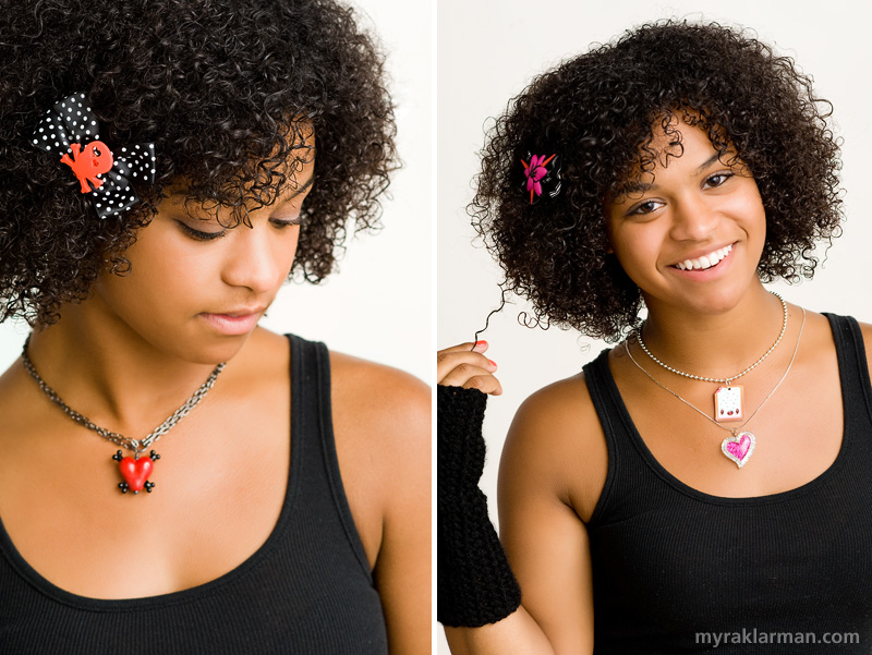 Shana Logic LovesSadie | Left: Skull & Bow Hairclip and the Glass Heart & Crossbones Necklace | Right: Ukiyo5 Blossom & Bow Hairclip, Classic Crocheted Arm Warmers, Happy Toaster Pastry Necklace (for those who have a thing for toaster pastries),  and the Glitter-licious Heart Necklace