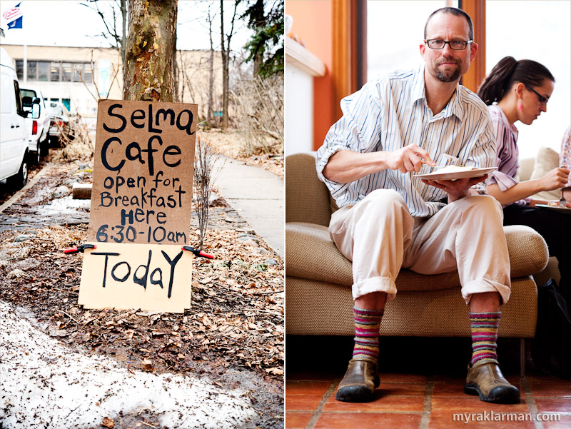 Selma Café: March 6, 2009 | Selma Café, hosted by Lisa Gottlieb and Jeff McCabe, is located at 722 Soule — directly in front of Eberwhite Elementary School. | Jeff McCabe is about to dig into a breakfast made almost exclusively with locally sourced ingredients. (And he knitted his own socks!)