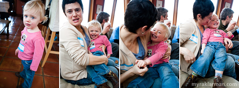 Selma Café: March 13, 2009 | Exhibit A: cute girl with blueberry eyes — and cheeks! Exhibits B–D: mom knows exactly how to make her smile.