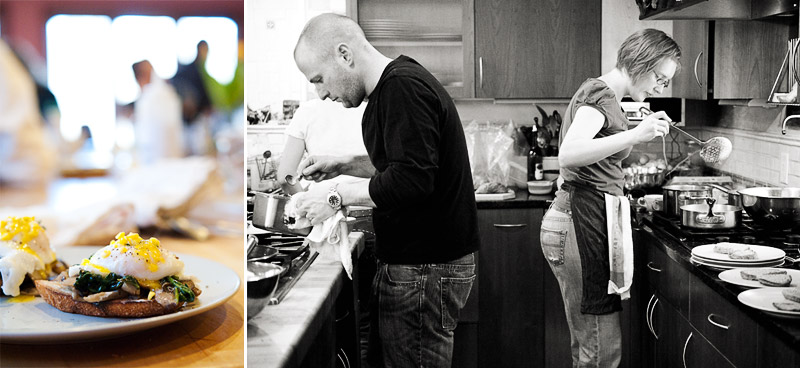 Selma Café: March 20, 2009 | Returning guest-chef Scott MacInnes and new guest-chef Vanessa Sly cooked up eggs Benedict (traditional or vegetarian versions) featuring Jeff's own house-cured smoky ham or hoop-house greens/mushrooms (respectively).