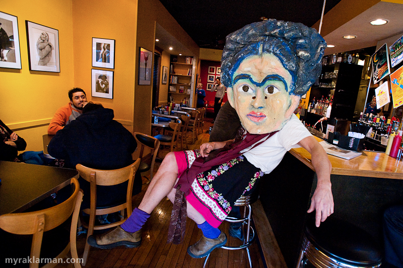 Frida Kahlo | Frida Kahlo, showing a bit of leg at the Aut Bar. After FestiFools on Sunday, everyone is welcome to join us at the Aut Bar for FestiFeast! And FestiFools volunteers even get a special, thank-you discount — as if you needed another reason to volunteer at the event.