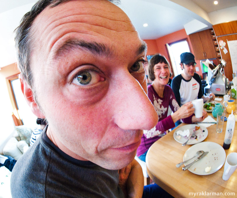Selma Café: April 24, 2009 | Jeff and Lisa's neighbor Johannes finds out what happens to your face when you get close to my fisheye lens. You've been warned!