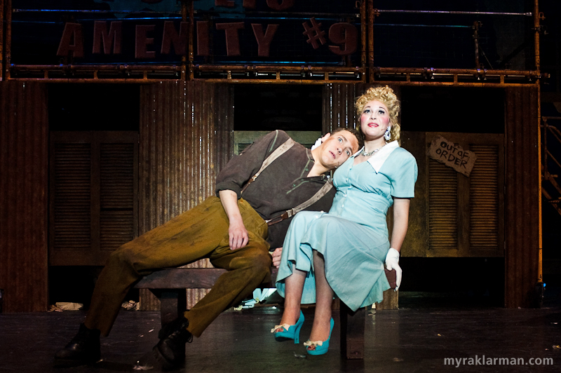 "Pioneer Theatre Guild: Urinetown | NEW PHOTO: Hope Cladwell (Mara Abramson) insists that Bobby Strong (Robby Eisentrout) listen to her heart, literally: ""Someday I'll meet someone / Whose heart joins with mine / Aortas and arteries all intertwined…"""