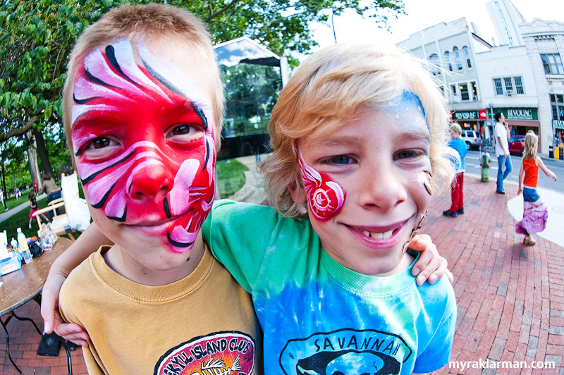 First Friday: Ann Arbor Summer Festival 2009 | Not everyone chose to be an animal or superhero. These boys love their Red Wings, and Body Masterpiece surely delivered.