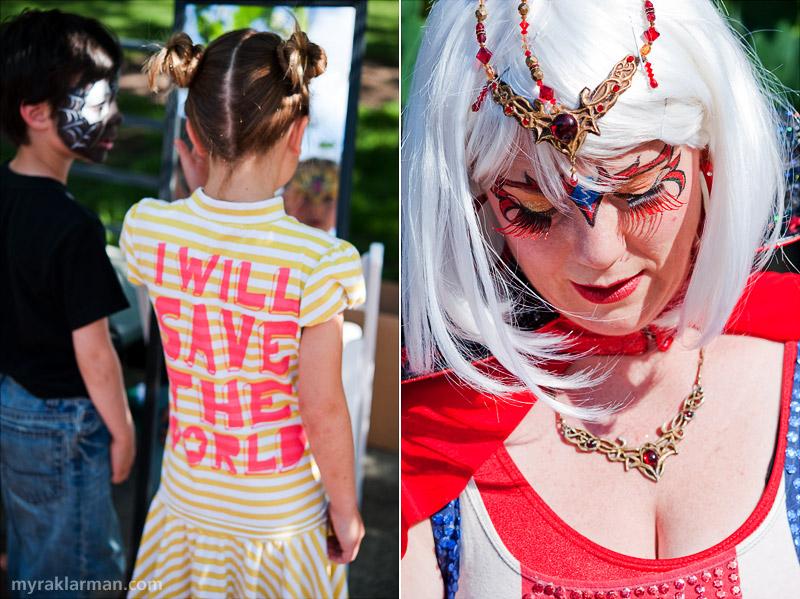 First Friday: Ann Arbor Summer Festival 2009   Venom and Wonder Bunny talk shop by the mirror.   Eyelashes that can stop a speeding locomotive.