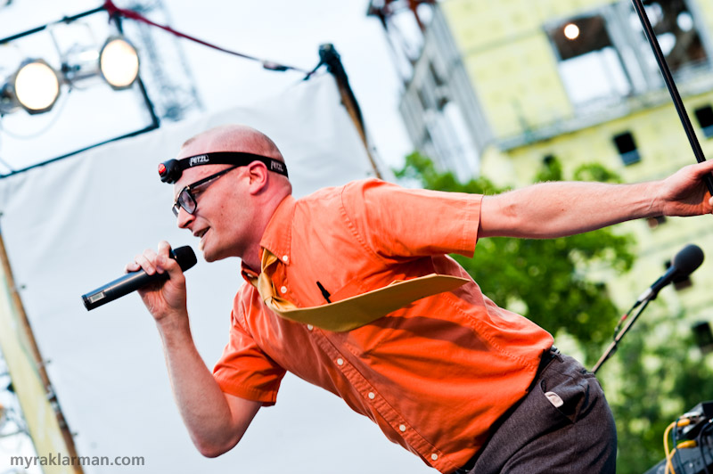 Ann Arbor Summer Festival 2009 | A lot of people fell in love with MC Frontalot at this performance. I may have been one of them. Check out the Bic pen and Petzl headlamp — inspired!