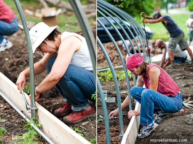Hoop House Dreams | Heidi Kumao (left) and Sunny Kawenski bolt the metal frame to the wooden base.