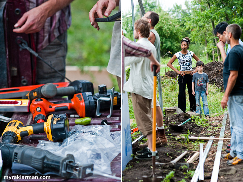 Hoop House Dreams | Drills, baby, drills! | Lynette Gaitskill and Max oversee the construction.