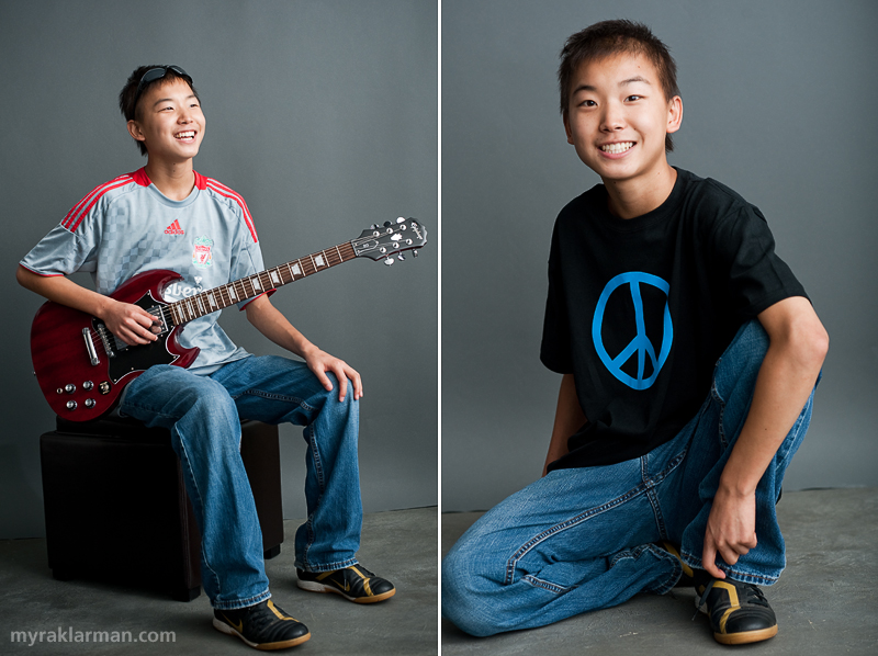 Make-A-Wish: Laurence Carolin Totally Rocks! | Laurence's mom, Lisa Carolin, told me that the image on the left is her favorite of all the shots I took of Laurence. We photographed Laurence with one of his guitars and his favorite soccer jersey for the Liverpool Football Club. Of course we talked about U2, and Laurence re-enacted (accents and all) the voicemail message he had just received from Bono and The Edge.