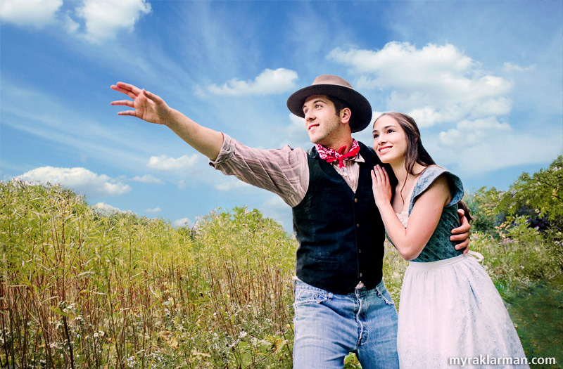 "Pioneer Theatre Guild: Oklahoma! (Publicity Shoot) | Tim Van Riper and Lydia Hiller imagine ""The Surrey with the Fringe on Top."" What you see here involved some pretty complex post-production, but I won't bore you with all the details. As I wrote above, all these shots were taken under dark, foreboding clouds, literally minutes before a drenching cloudburst. So, lest you'll think me a liar, I must explain one detail: the lovely blue sky with puffy/streaky clouds was accomplished by compositing a stock image of the sky with my original, gray-sky image — et voilà!"