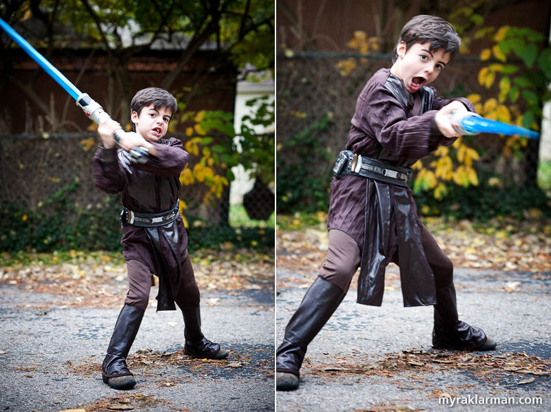 Halloween 2009 | Max as young Anakin Skywalker fights the Dark Side and trims some hedges.