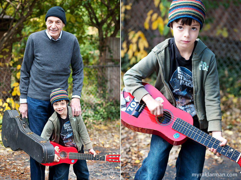 Halloween 2009 | The next day, U2's The Edge (aka Grandpa Mel) came by to jam.  | Max as a fierce rocker, sporting a favorite tee-shirt.