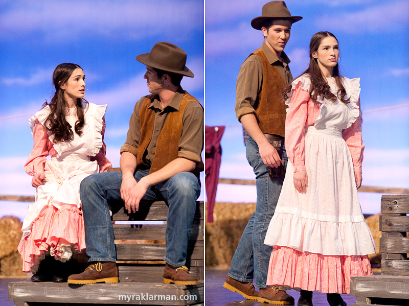 Pioneer Theatre Guild:Oklahoma! | Laurey (Lydia Hiller) and Curley (Tim Van Riper) tease each other.