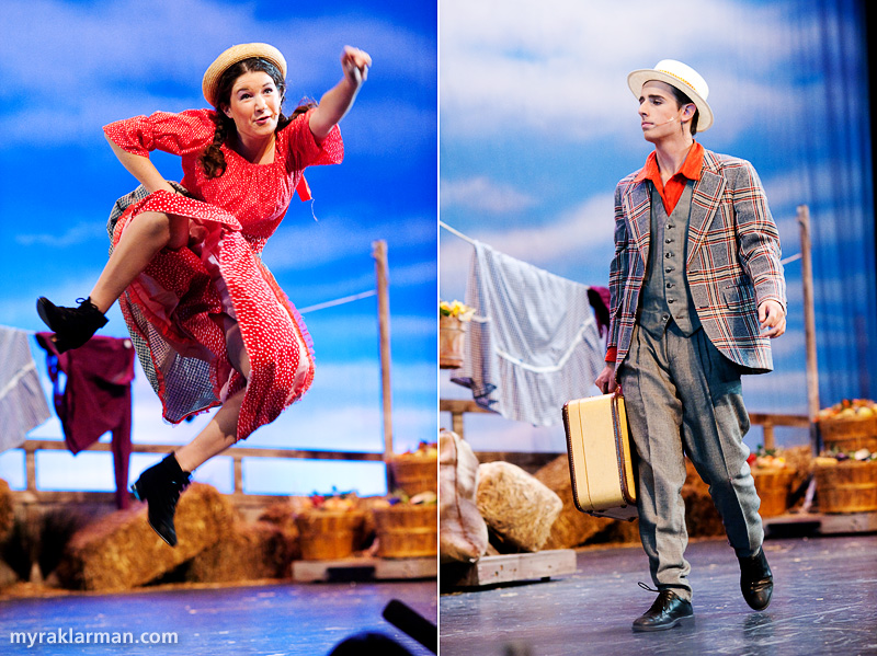 Pioneer Theatre Guild:Oklahoma! | Ado Annie (Maia Gleason) is giddy over the men in her life. | One of those men is the unscrupulous Ali Hakim (Leo Bayless-Hall), a Persian traveling peddler.