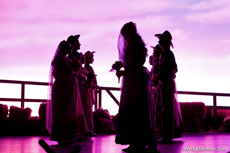 Pioneer Theatre Guild:Oklahoma! | Dream sequence: Laurey (Lydia Hiller) awaits Curley (Tim Van Riper) at the wedding altar.
