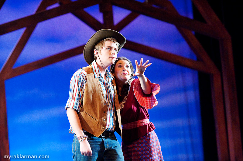 Pioneer Theatre Guild:Oklahoma! | Will (Schuyler Robinson) and Ado Annie (Maia Gleason) argue over the ground rules for their relationship.