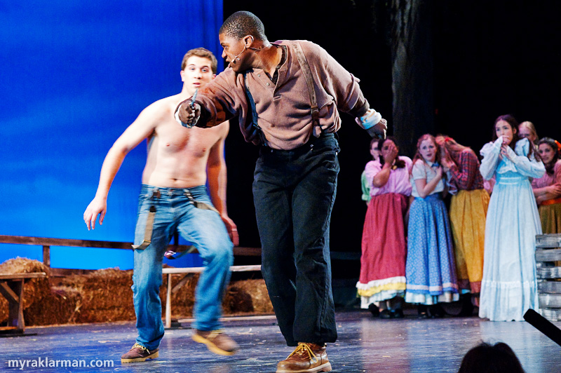 Pioneer Theatre Guild:Oklahoma! | The final showdown: Jud's got a knife! (John Spalding and Tim Van Riper)