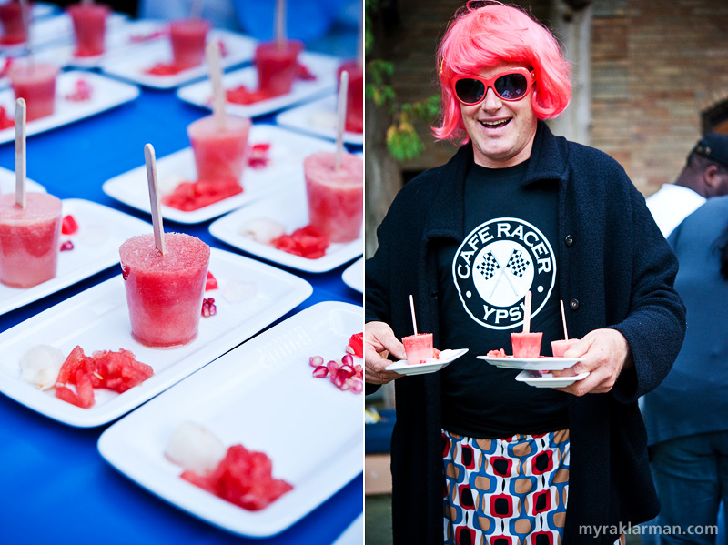 Bona Sera Supper Club | Watermelon agua fresca popsicles with watermelon salad, lychee, and pomegranate. | Who's the hot dish carrying the cold ones? John Roos is quite the Betty.