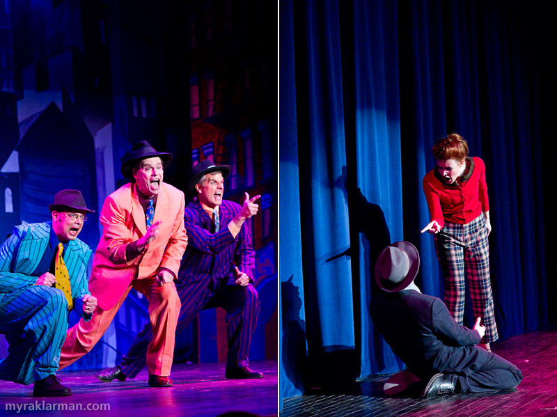 Burns Park Players: Guys and Dolls | Tim McKay, Vic Strecher, and Clinch Steward (Nicely-Nicely Johnson, Rusty Charlie, and Benny Southstreet) in the number Guys and Dolls | Eva Rosenwald and Joel Swanson (Miss Adelaide and Nathan Detroit) bring down the house in Sue Me.