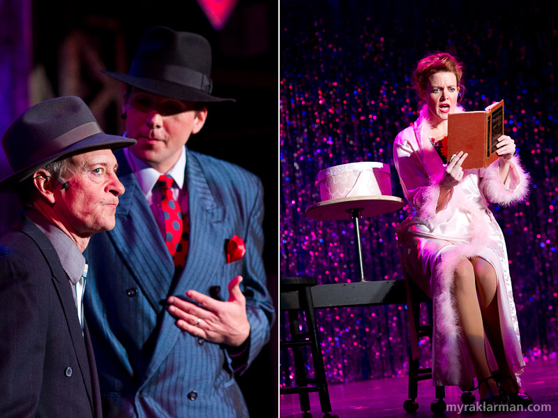 Burns Park Players: Guys andDolls | A nervous and conniving Joel Swanson (Nathan Detroit) vs. a cool and debonair Jeff Robinson (Sky Masterson). | Eva Rosenwald (Miss Adelaide) brings the perfect mix of humor,  heartbreak, and hope to Adelaide's Lament.
