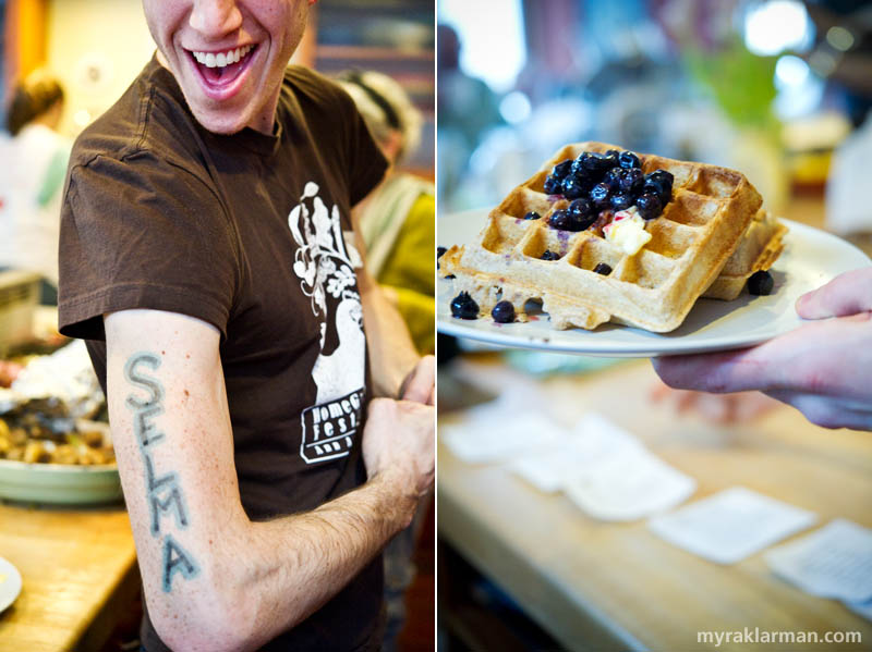 "Happy 1st Birthday Selma Café: February 19, 2010 | Remi Holden celebrated Selma's ""first b"" with ink. 