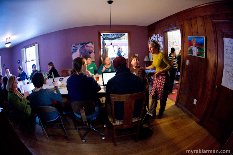 "Happy 1st Birthday Selma Café: February 19, 2010 | Lisa greets guests at the ""big table."""