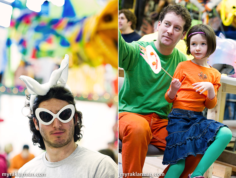 Marching towards FestiFools 2010 | U-M student Mike Kelmenson fits right in. | U-M associate professor Nick Tobier enjoys a FestiFools open-house event with his daughter. Nick was instrumental in getting the first three FestiFools events off the ground.