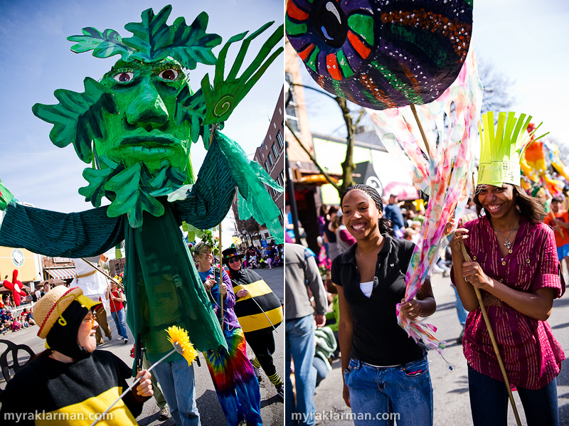 FestiFools 2010 | Left: Community volunteers Jeanne Mackey and Pattie Postel teamed up to design and create a giant puppet.