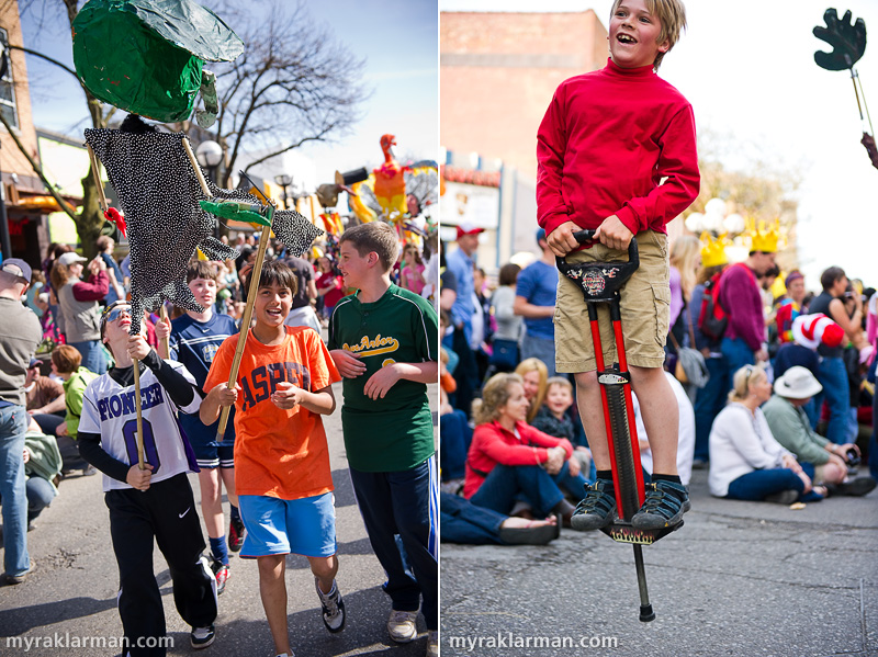 "FestiFools 2010 | Fifth-grade boys from Burns Park Elementary carry the alien puppet they created. | Many ""freelancers,"" such as this young, pogo stick–jumping Fool, joined the party."