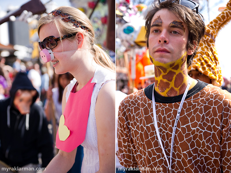 FestiFools 2010 | I wonder what this U-M student thought about that bacon-and-eggs puppet. | This giraffe was masquerading as U-M student Gabriel Tourek.