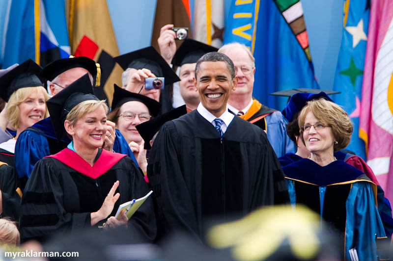 President Obama @ UM Commencement 2010 | President Obama flanked by Governor Jennifer Granholm and UM President Mary Sue Coleman.