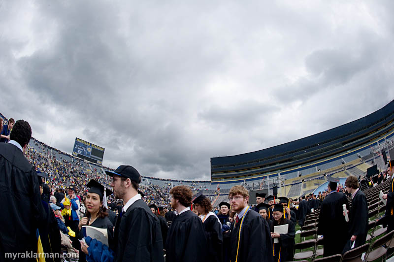 President Obama @ UM Commencement 2010 | Fussed with the exposure on this shot to show the ominous sky above us. Thankfully we were spared the 80-90% chance of thundershowers that were predicted during Obama's speech.