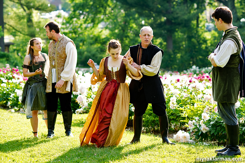 Shakespeare in the Arb: A Midsummer Night's Dream | This version of A Midsummer Night's Dream begins in the Peony Garden. Hippolyta and Theseus (Gail McCormick and Chris Harrison) watch on as Egeus (Rich Tolman) tries to force his daughter Hermia (Allison Stock) to marry Demetrius (Sean FitzGerald). But Hermia wants to marry her beloved Lysander.