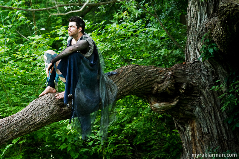 Shakespeare in the Arb: A Midsummer Night's Dream | Oberon (Graham Atkin) observes the action from his lushly wooded perch. Atkin also played Oberon in the 2001 production.