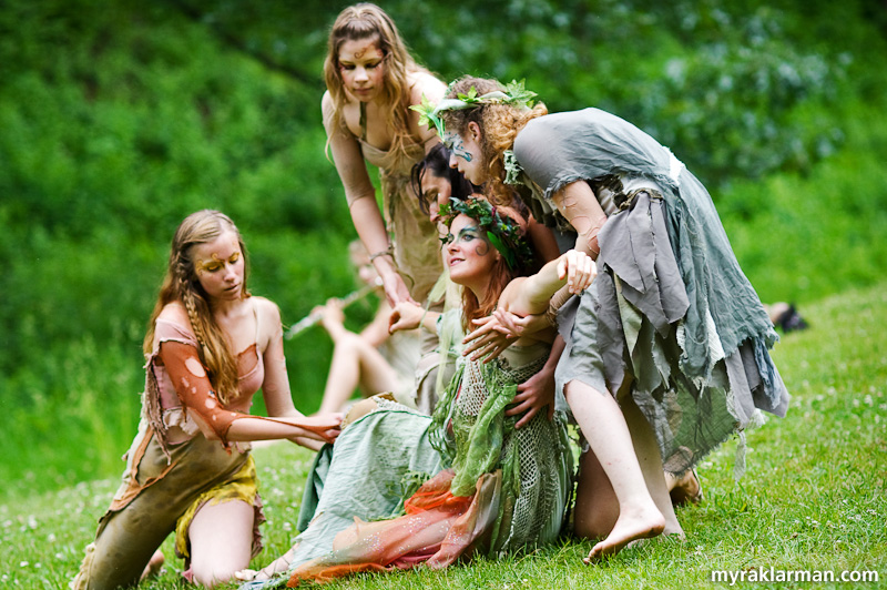 Shakespeare in the Arb: A Midsummer Night's Dream | Sleepy time for Titania (Eva Rosenwald). Titania's attendants included Peaseblossom (Sian Dowis), Cobweb (Megan Mertaugh), Mustardseed (Elise Randall) and Moth (Alison Clinton).