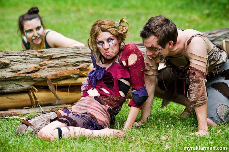 Shakespeare in the Arb: A Midsummer Night's Dream | Three Pucks for the price of one. I loved how this mischievous threesome moved and danced as one. (Mandy Bannatz, Jaclyn Dudek, and Greg Kovas)