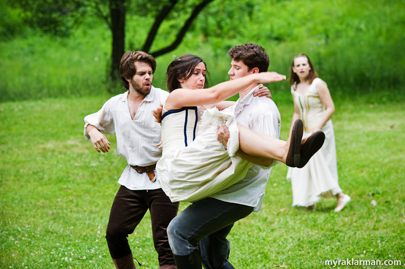 Shakespeare in the Arb: A Midsummer Night's Dream | The four lovers in a confused — is there any other kind? — love quadrangle caused by magic potions (Chris Anderson, Ellie McIvor, Sean FitzGerald, and Allison Stock).