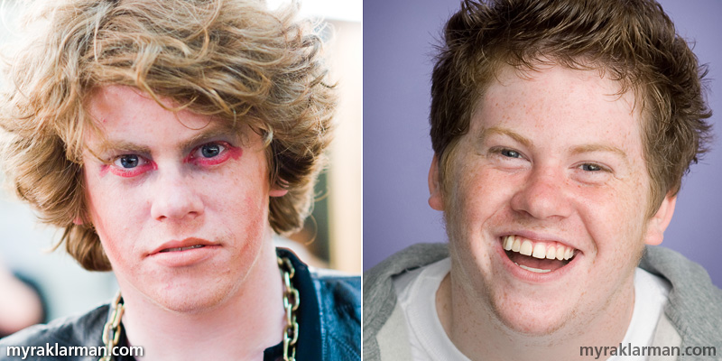 Zack Pearlman: Ann Arbor native breaks into Hollywood | Look at that punim! Would you cast this face as a lead in a major motion picture? Zack Pearlman backstage as Cousin Kevin in Tommy (2006) | Zack's winning audition headshot, which I took in 2007.