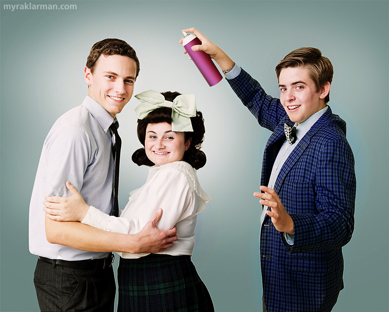 Pioneer Theatre Guild: Hairspray (Publicity Shoot) | Teen heartrob Link (Robby Eisentrout) with Tracy Turnblad (Grace Gilmore) and TV host Corny Collins (Schuyler Robinson).