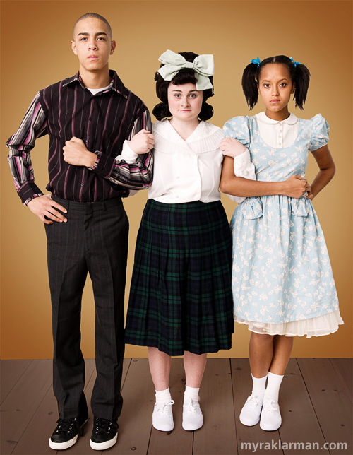 Pioneer Theatre Guild: Hairspray (Publicity Shoot) | L-R: Seaweed (Tre Brown), Tracy (Grace Gilmore), and Lil' Inez (Maimouna Jammeh) are ready to help integrate Baltimore.