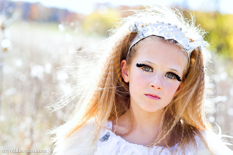 "Photography Workshop: Peek into a Fantastical World | Let's get a gander of the fabulous hair and make-up. She said the ""eyelashes"" (my guess is that they are made from thin black paper) itched her at first, but that she quickly got used to them."