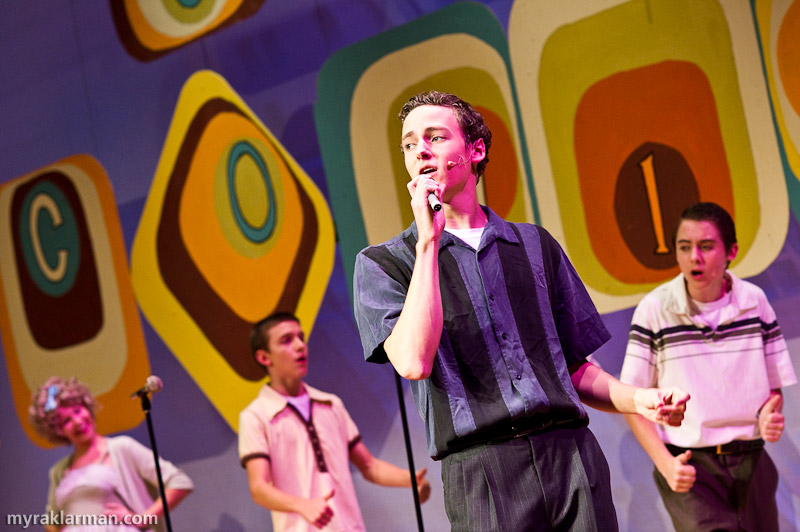"Pioneer Theatre Guild: Hairspray | Teen heartthrob and Council member Link Larkin (Robby Eisentrout) woos Tracy with his sultry crooning of ""It Takes Two."""