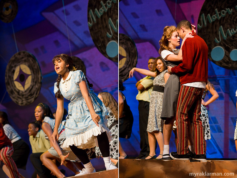 Pioneer Theatre Guild: Hairspray | Little Inez (Mai Jammeh, an exchange student from Germany) shakes a leg at Maybelle's Record Shop. | Penny Pingleton (Mara Abramson) falls in love with Seaweed J. Stubbs (Tre Brown).