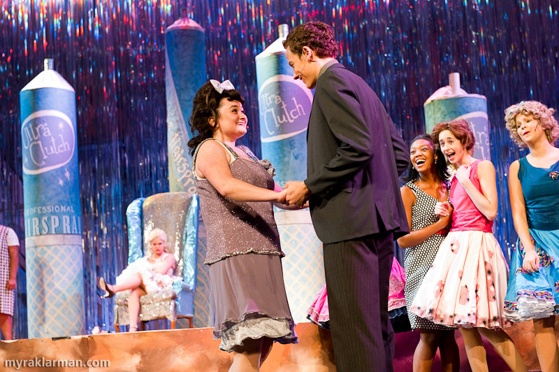Pioneer Theatre Guild: Hairspray | Happy ending: Tracy is crowned Miss Hairspray, helps integrate The Corny Collins Show, and wins the heartthrob in one fell swoop! (Grace Gilmore and Robby Eisentrout)