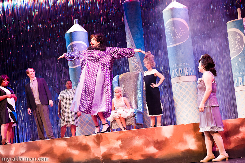 Pioneer Theatre Guild: Hairspray | Edna (Russell Norris) surprises everyone when she explodes (in a dense fog of hairspray — great effect!) from one of the giant cans of Ultra Clutch. By opening night she would be wearing a different dress, which hadn't been quite completed by the final dress rehearsal.