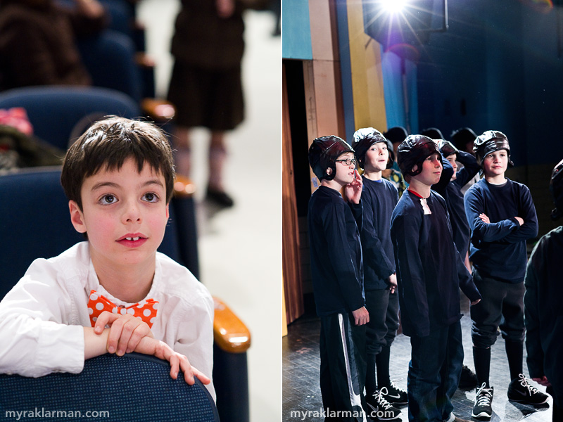 Burns Park Players: Getting Ready to Succeed! | Max, now a second grader, is mesmerized by all the action. | The fourth grade boys, who play 1920s-era college football players, wait for stage directions.