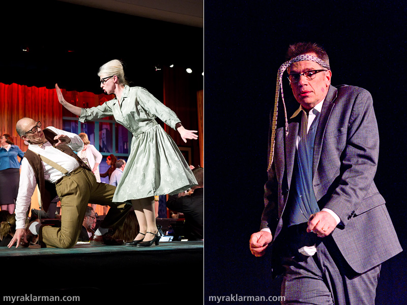Burns Park Players: How To Succeed In Business Without ReallyTrying | StenoPooler (Sally Pinnell) schools Twimble (Joel Swanson) that A Secretary is Not a Toy. | This executive (Vic Strecher) apparently didn't get that memo.