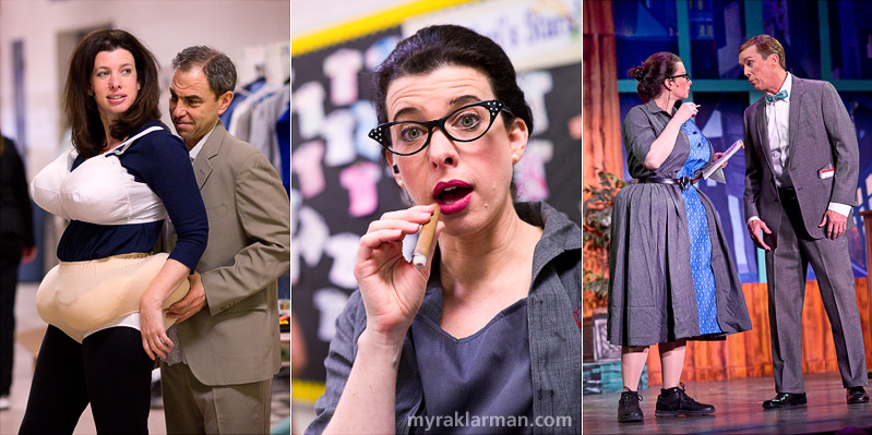 Burns Park Players: How To Succeed In Business Without ReallyTrying | For some cast members, preparing for their parts required both extra stuffing and extra puffing (on prop cigarettes and cigars filled with talcum powder).