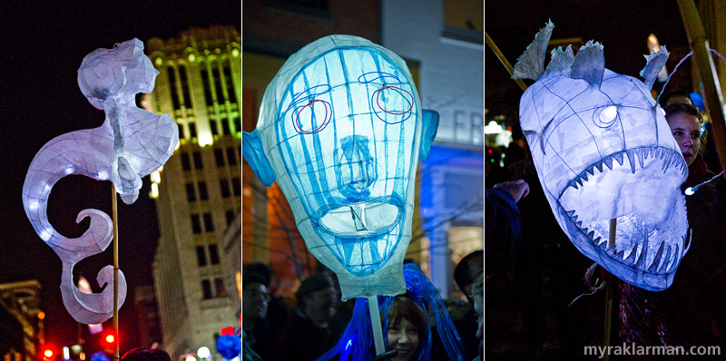 FoolMoon 2011 | These luminaries were created by (l-r): Jimmie Thompson, who facilitated the luminary-building workshops at Workantile; Rick Cronn; and FestiFools steering committee member Gretchen Adracie.